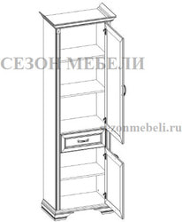 Шкаф с витриной Монако (Monako) 1V1D1S (возможна подсветка). Вид 2