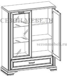 Шкаф с витриной Монако (Monako) 1V1D1SL (возможна подсветка). Вид 2