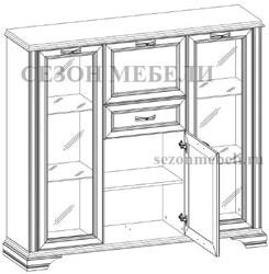 Шкаф с витриной Монако (Monako) 2V2D1S (возможна подсветка). Вид 2
