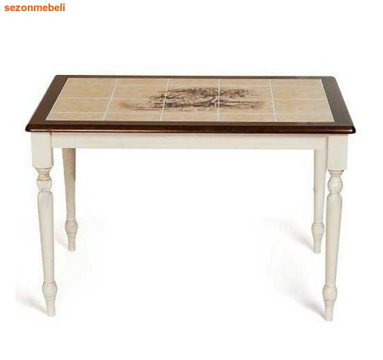 Стол обеденный с плиткой CT 3045P Античный белый/Тёмный Дуб (Дерево) (фото)