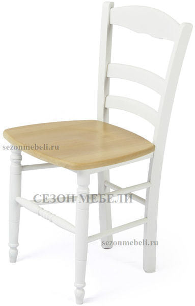 Стул PALMA 43D WHITE / WOOD SEAT (белый/дерев. сид. рустик) (фото)