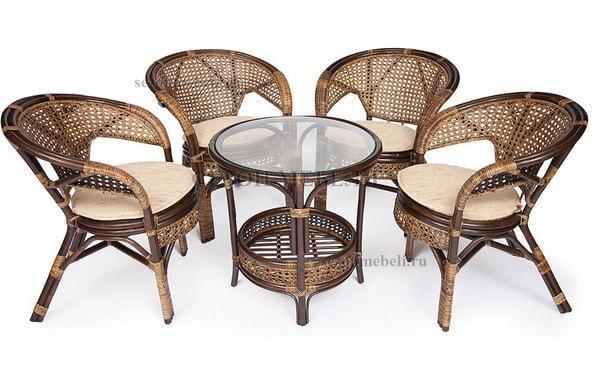 Комплект Pelangi (Пеланги) 02/15 (Walnut - Грецкий орех) стол со стеклом + 4 кресла (фото)
