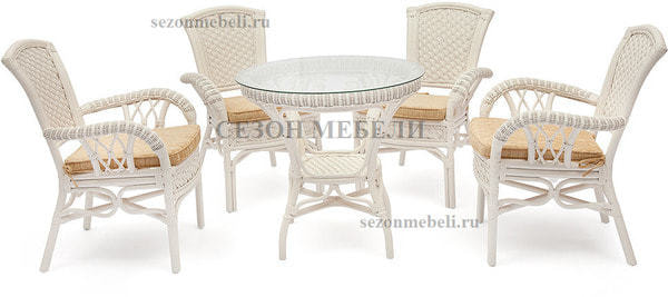 Обеденная группа Andrea White (Андреа Белый) стол+4 кресла (фото)