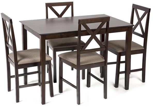 Обеденная группа Хадсон (стол + 4 стула)/ Hudson Dining Set (темный орех) (фото)