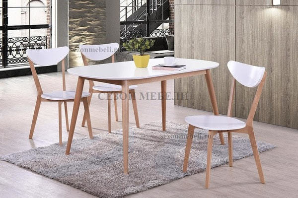 Обеденная группа (стол Max и стулья Maxi) натуральный (фото)