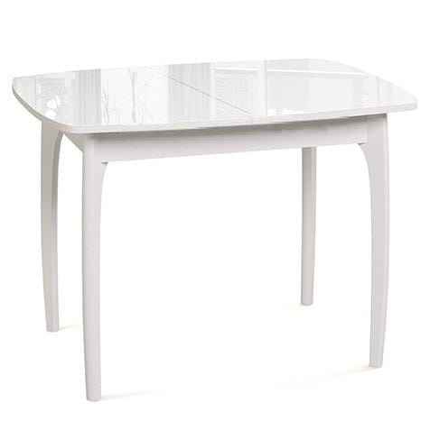 Стол М15 ДН4 белый/стекло белое (фото)