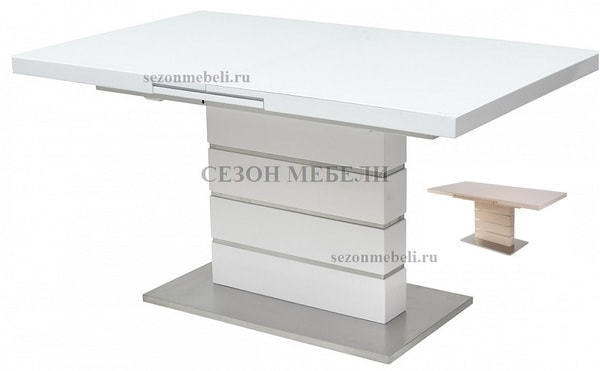 Стол QUADRO 140 WHITE GLASS белый глянец (фото)
