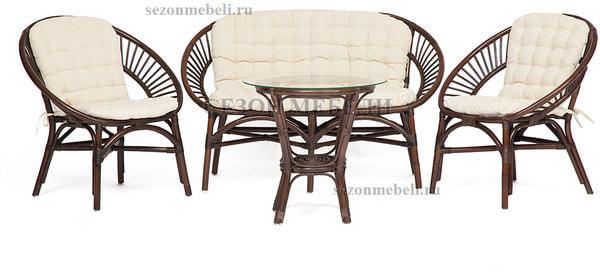 Комплект для отдыха Turkey (Туркей) (стол круглый со стеклом+2 кресла + диван) (фото)