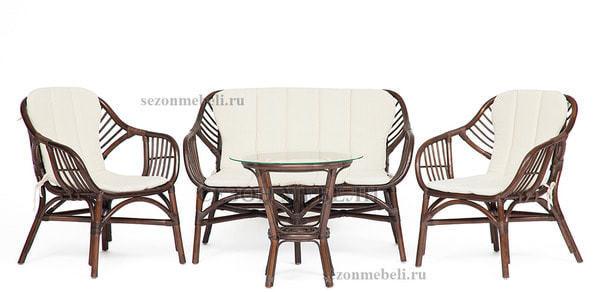 Комплект для отдыха Sonoma (Сонома) (стол круглый со стеклом+2 кресла+диван) (фото)