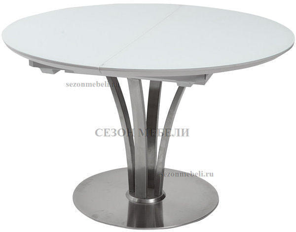 Стол KANSAS D120 WHITE MATT GLASS белый матовый (фото)