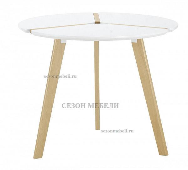 Стол PEONY D90 белый/массив бука (фото)