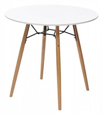 Стол CLIDE D80 белый/массив бука (фото)