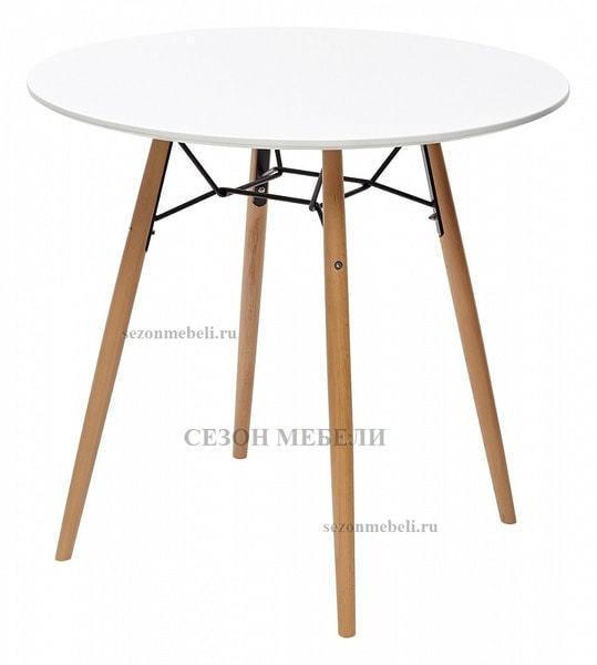 Стол CLIDE D90 белый/массив бука (фото)
