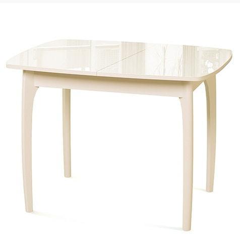 Стол №40 ДН4 слоновая кость/стекло бежевое (фото)