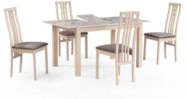 Обеденная группа (стол TME-6931 MBH MILKY WHITE/ SWEDEN + 4 стула СB-2482YBH MILKY WHITE/ CAMEL) (фото)