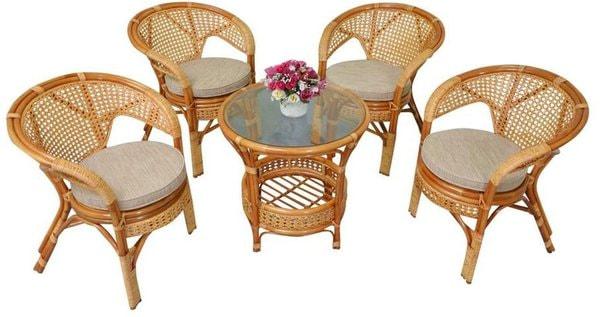 Комплект Pelangi (Пеланги) 02/15 (Honey - Мёд) стол со стеклом + 4 кресла (фото)