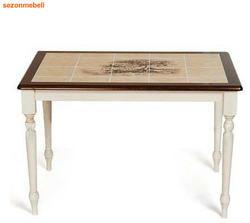 Стол обеденный с плиткой CT 3045P античный белый
