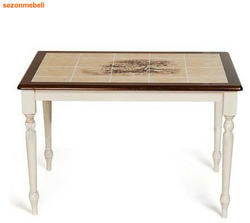Стол обеденный с плиткой CT 3045P Античный белый/Тёмный Дуб (Дерево)