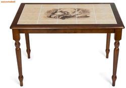 Стол обеденный с плиткой CT 3045P темный дуб (Город)