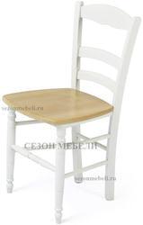 Стул PALMA 43D WHITE / WOOD SEAT (белый/дерев. сид. рустик)