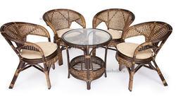 Комплект Pelangi (Пеланги) 02/15 (Walnut - Грецкий орех) стол со стеклом + 4 кресла