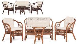 Комплект для отдыха New Bogota (диван + 2 кресла + стол со стеклом)