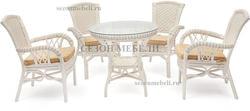 Обеденная группа Andrea White (Андреа Белый) стол+4 кресла