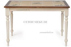 Стол с плиткой CT 3045P античный белый/тёмный дуб (Прованс)
