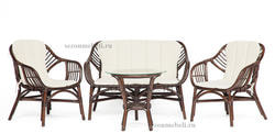 Комплект для отдыха Sonoma (Сонома) (стол круглый со стеклом+2 кресла+диван)