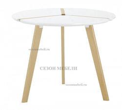 Стол Peony D90 белый/массив бука