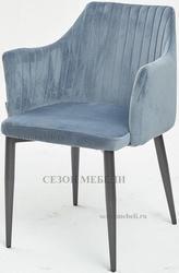 Стул OTTAVA пудровый синий - антрацит, велюр G108-56
