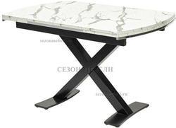 Стол KRIS MARBLE 120 см белый мрамор / черный
