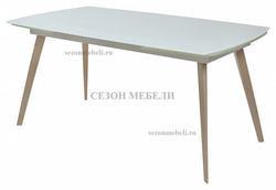 Стол ELIOT 140 Super white glass+Wood