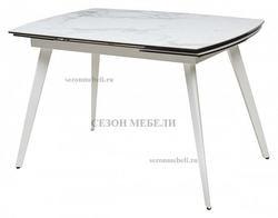 Стол ELIOT 120 CHINESE MARBLE WHITE керамика/ белый каркас