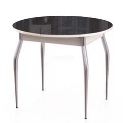 Стол Гала-3 беленый дуб/стекло черное