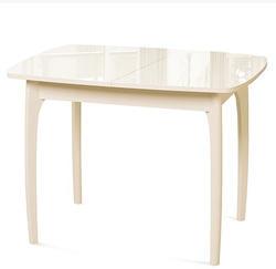 Стол №40 ДН4 слоновая кость/стекло бежевое
