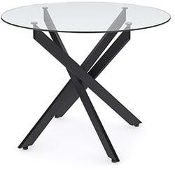 Стол Dikline R90 стекло/ ножки черный металл