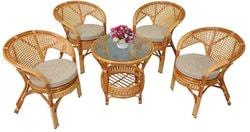 Комплект Pelangi (Пеланги) 02/15 (Honey - Мёд) стол со стеклом + 4 кресла